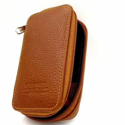 Parker Saddle Leather Safety Razor Case with zip