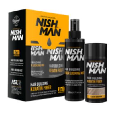 Nish Man Hair Building Keratin Fiber + Fiber Locking Mist Set (light brown) 20g+100ml