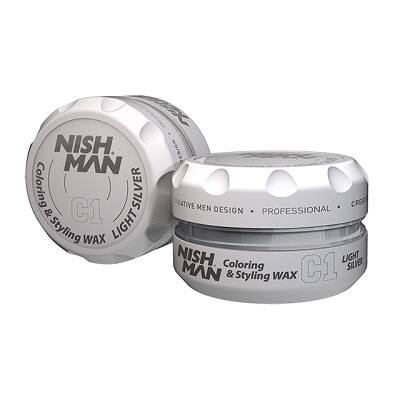 Nish Man Coloring & Styling Wax Light Silver 150ml