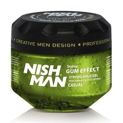 Nish Man Hair Styling Gel Gum Effect Casual (G1) 300ml (Pro Size)