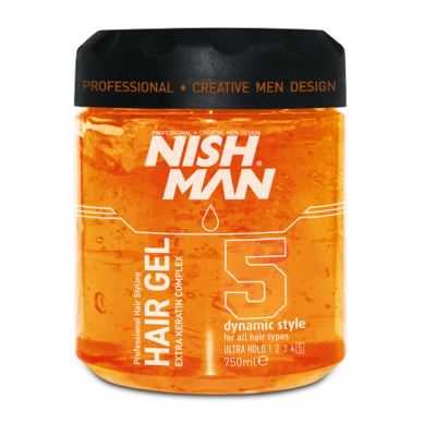 Nish Man Hair Styling Gel Ultra Hold (No.5) 750ml (Pro Size)