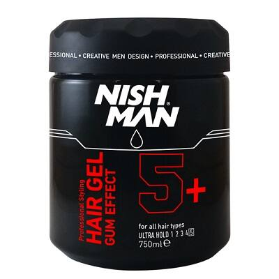 Nish Man Hair Styling Gel Gum Effect 5+ Ultra hold 750ml (Pro Size)