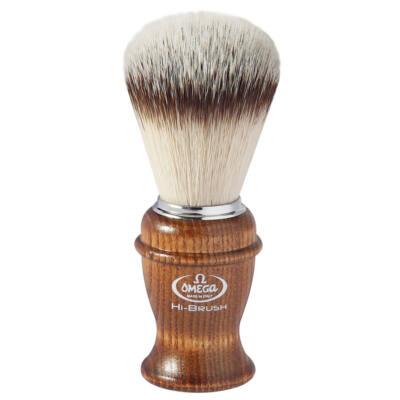 Omega HI-BRUSH synthetic fiber shaving brush, ash wood handle 117mm