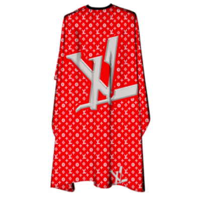 """The Shave Factory Cutting Cape """"LV"""" Red/White vágókendő"""